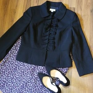 {LOFT} Black Wool Blazer with Ruffle Button Trim